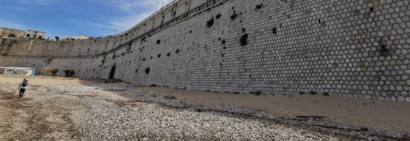 CASTELLAMMARE DEL GOLFO – Est porto – La falesia artificiale vista dalla spiaggia